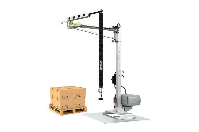 Vakuumlyft för kartonghantering - mobil svängkran - knäckarm Movomech Easycrane Pro