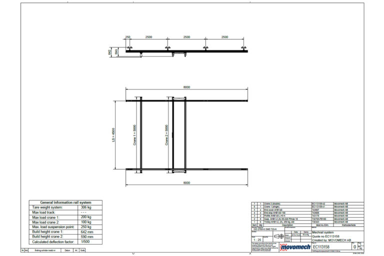 EConfig Movomech crane system Mechrail layout drawing example