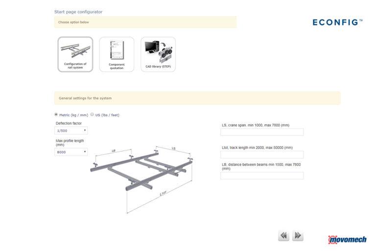 Dimensionera traverssystem - lättraverssystem med konfigurator ECONFIG Mechrail Movomech