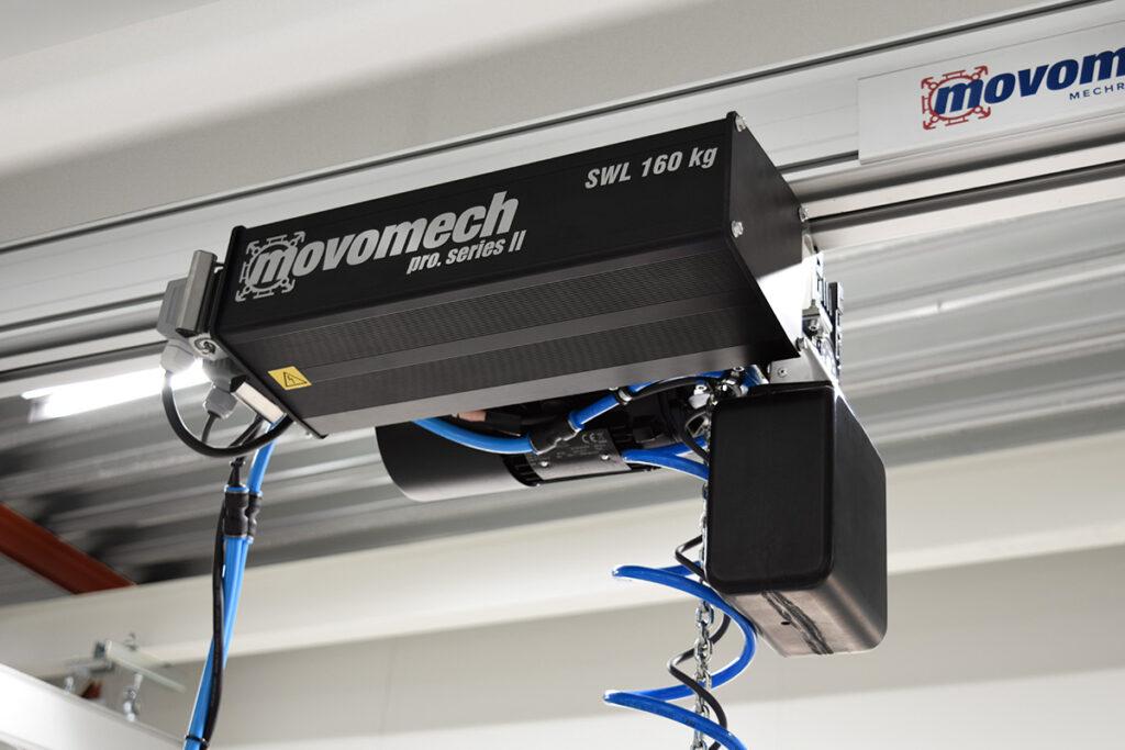 Eltelfer - frekvensstyrd elektrisk telfer - Movomech Mechchain Pro II - för precisionsmontering - professionell lyfthantering